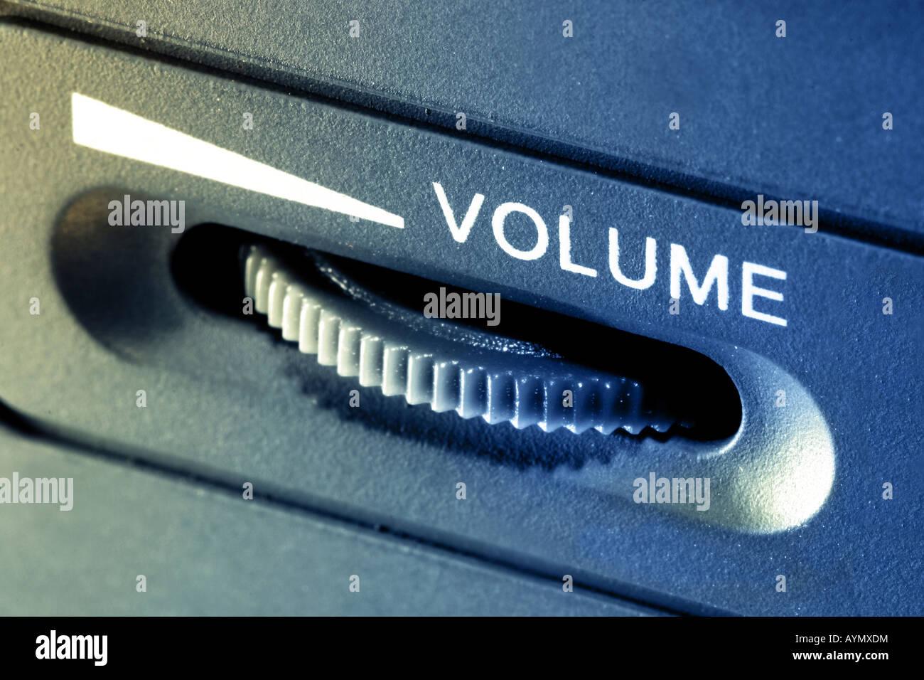 Ripresa macro di un cursore del volume. Immagini Stock