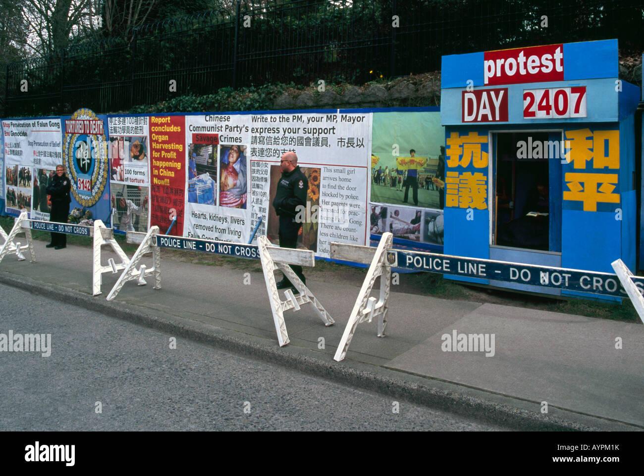 Falun Gong in segno di protesta contro la tortura e la raccolta di organi inviato al Consolato Cinese in Vancouver Immagini Stock