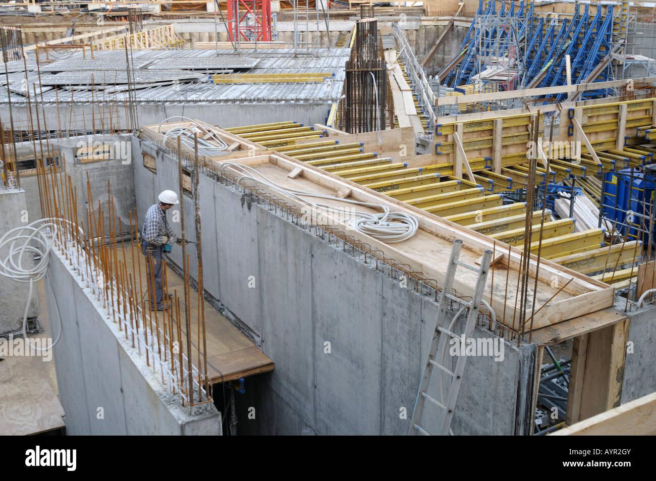 Grande Scala costruzione sito, costruire lo scheletro, il guscio Immagini Stock