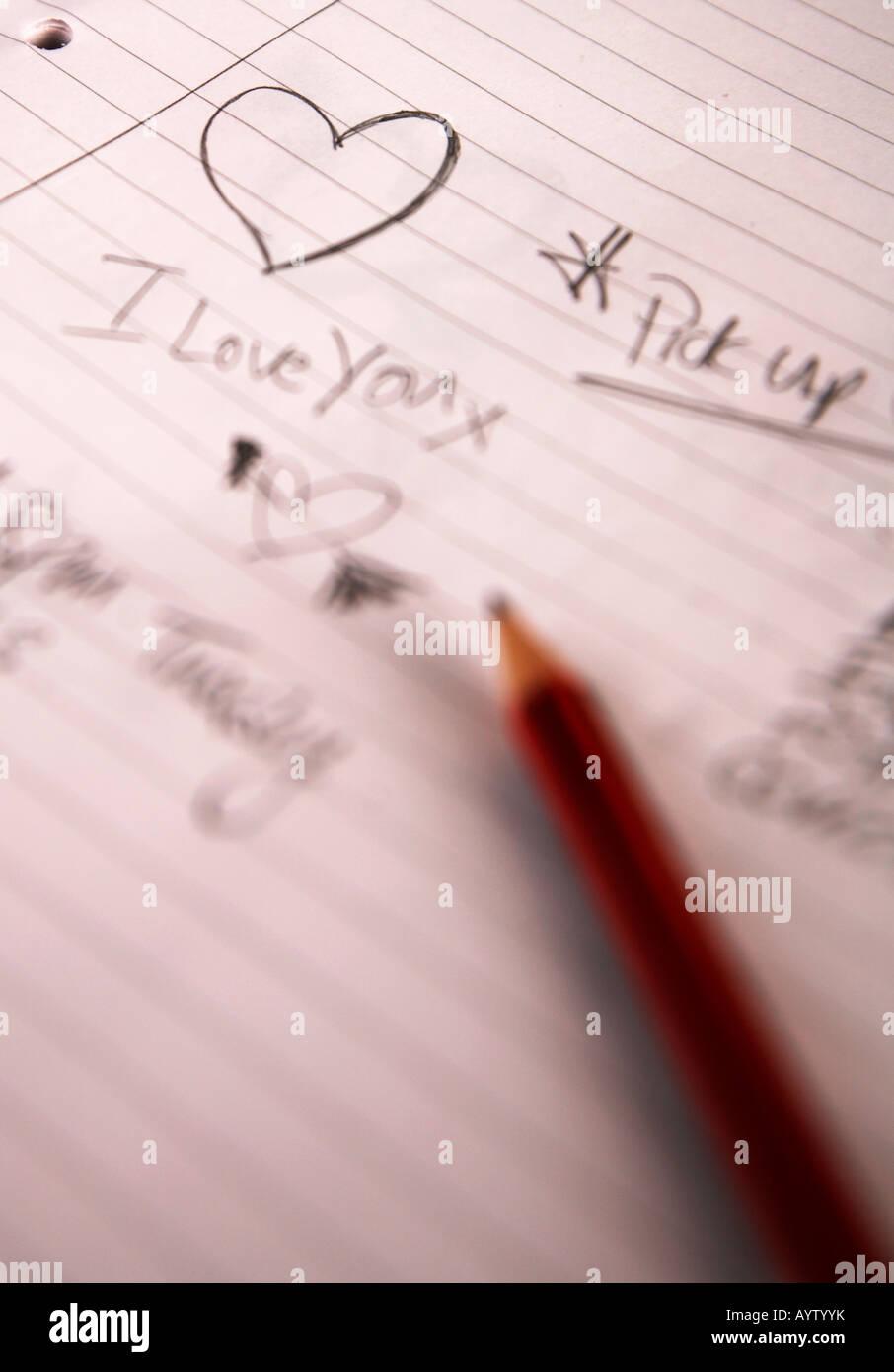 Ti Amo Doodle su un tampone rivestito, con matita Immagini Stock