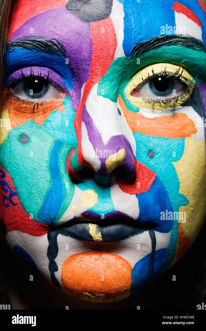 In prossimità di una ragazza faccia dipinta Immagini Stock
