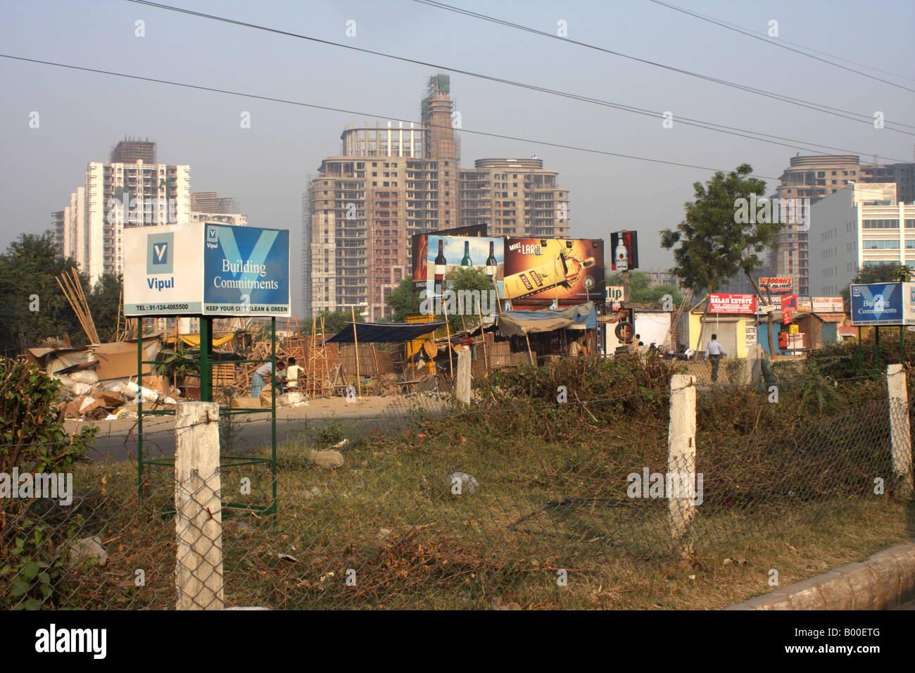 Centro città in Gurgaon Delhi India Immagini Stock