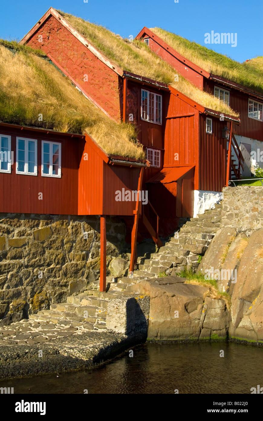 Costruzioni di legno nella città vecchia di Tinganes, Torshavn, Isole Faerøer Immagini Stock