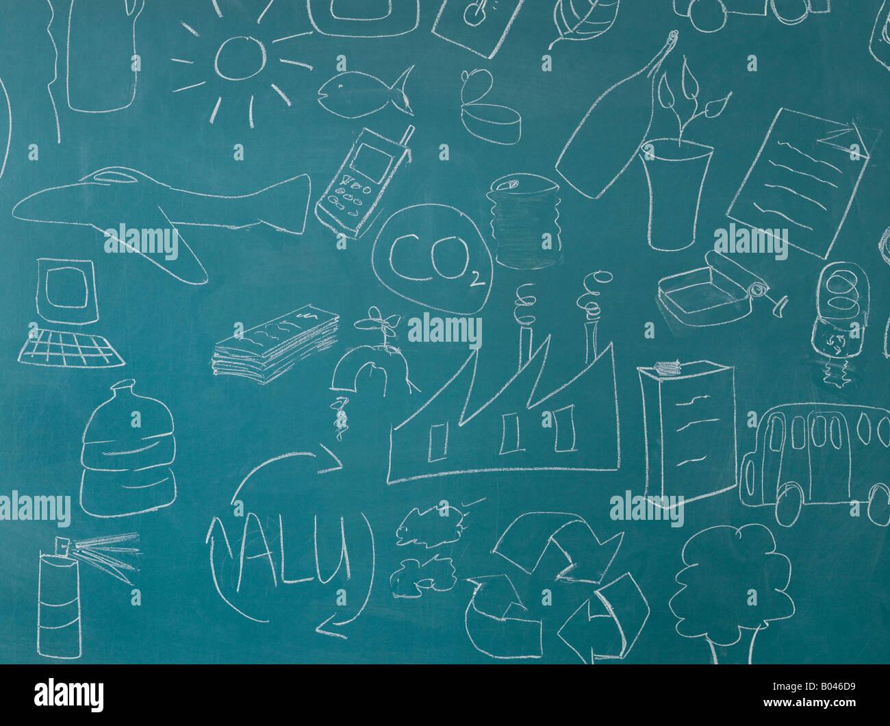 Il riciclaggio illustrazioni sulla lavagna Immagini Stock