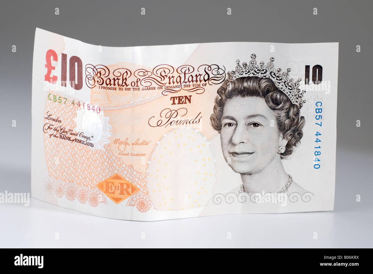 British 10 pound nota. Solo uso editoriale Immagini Stock