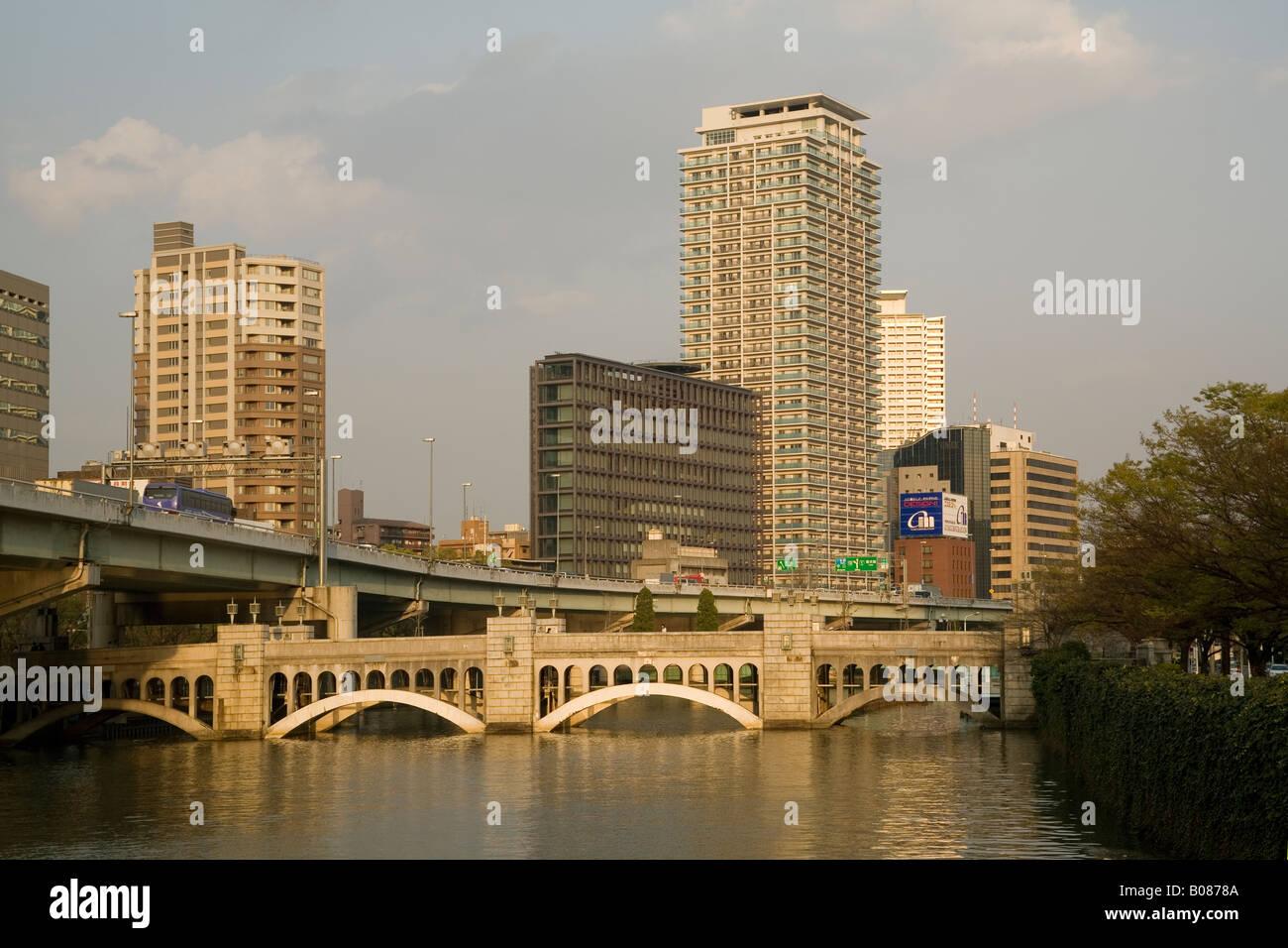 Osaka fiume Dojima Immagini Stock