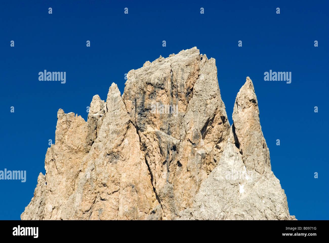 Mt. Fuenffingerspitze (visto dal Passo Sella) Alto Adige, Italia, Europa Immagini Stock