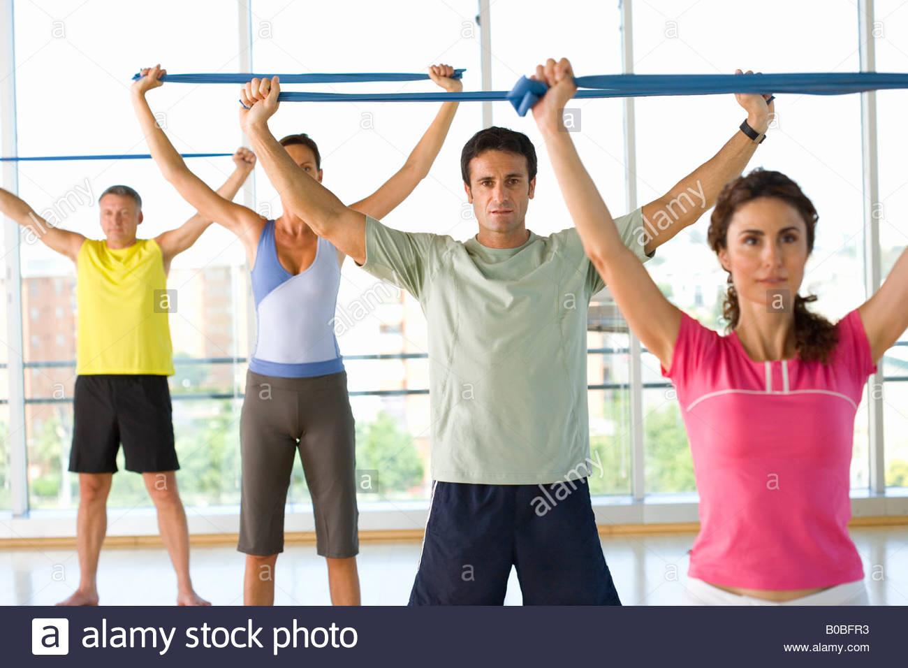 Le persone che la esercitano classe, azienda esercizio fasce suddette teste Immagini Stock