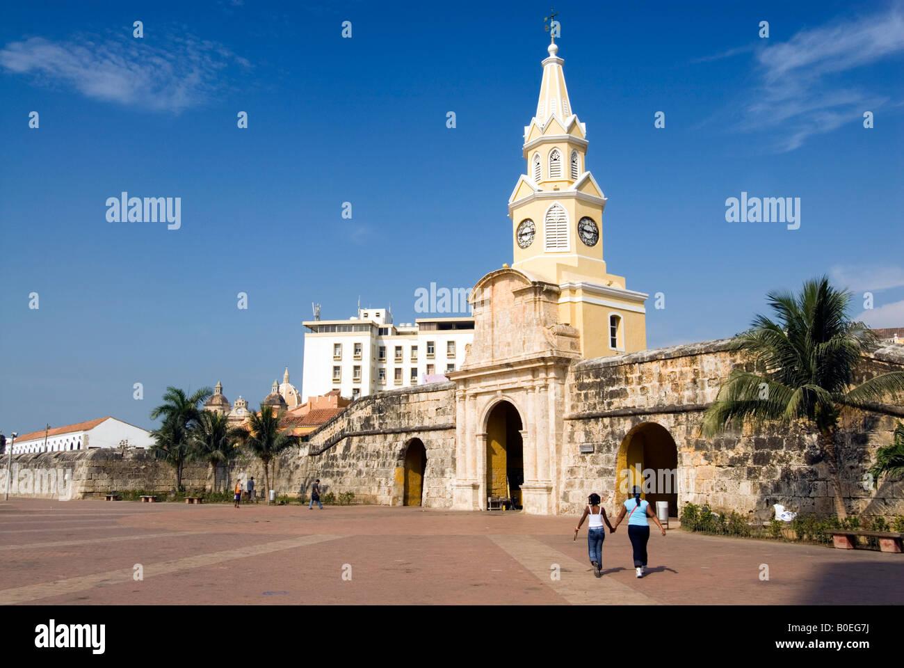 La Torre dell'orologio di gate o di Puerta del Reloj, Cartagena de Indias, Colombia Immagini Stock