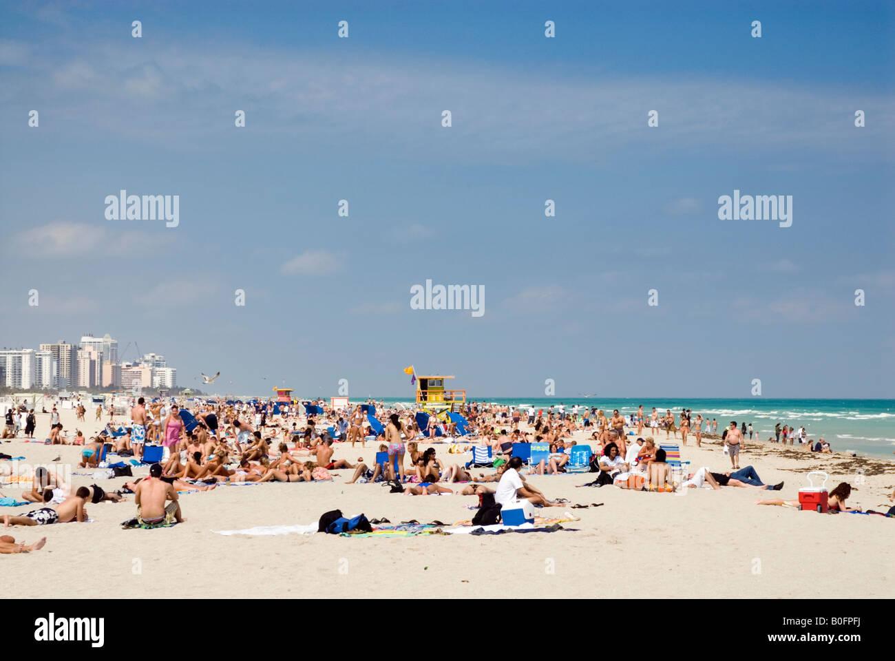 South Beach di Miami, Florida, Stati Uniti d'America Immagini Stock