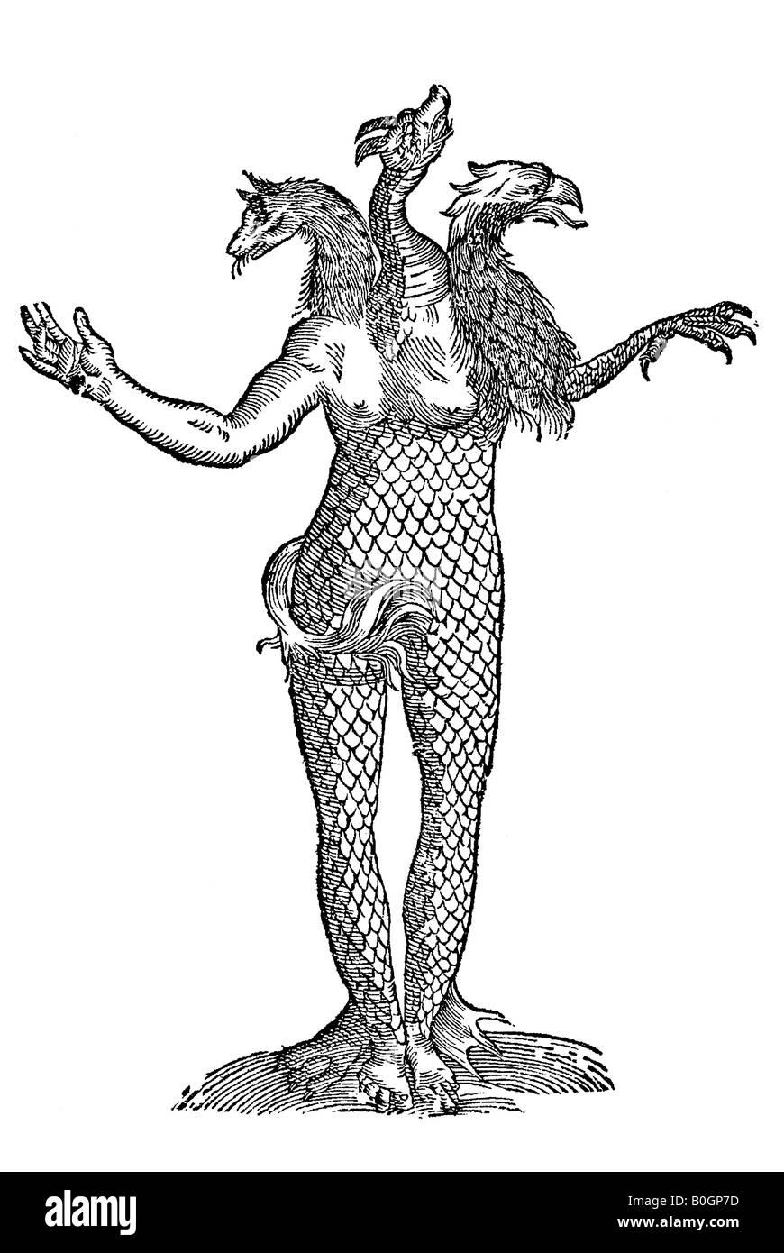 Monstrum tricipiti capite Draconis Vulpis & Aquilae, Aldrovandi, 1642, secolo XVII, Rinascimento, Europa Immagini Stock