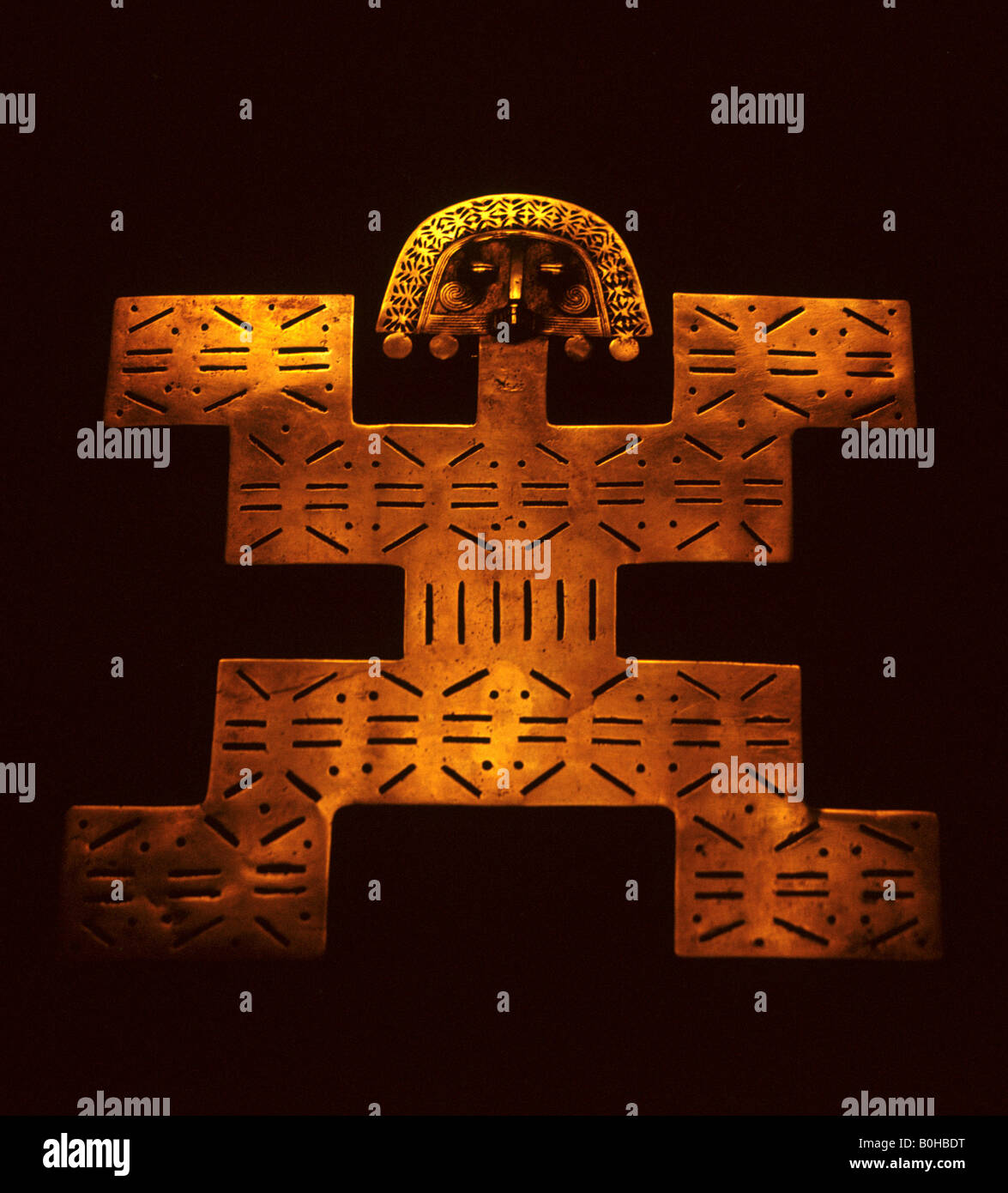Golden Inca figura, quali il Museo del Oro - Arte Precolombina precolombiana, Museo dell'oro, Bogotà, Colombia, Immagini Stock