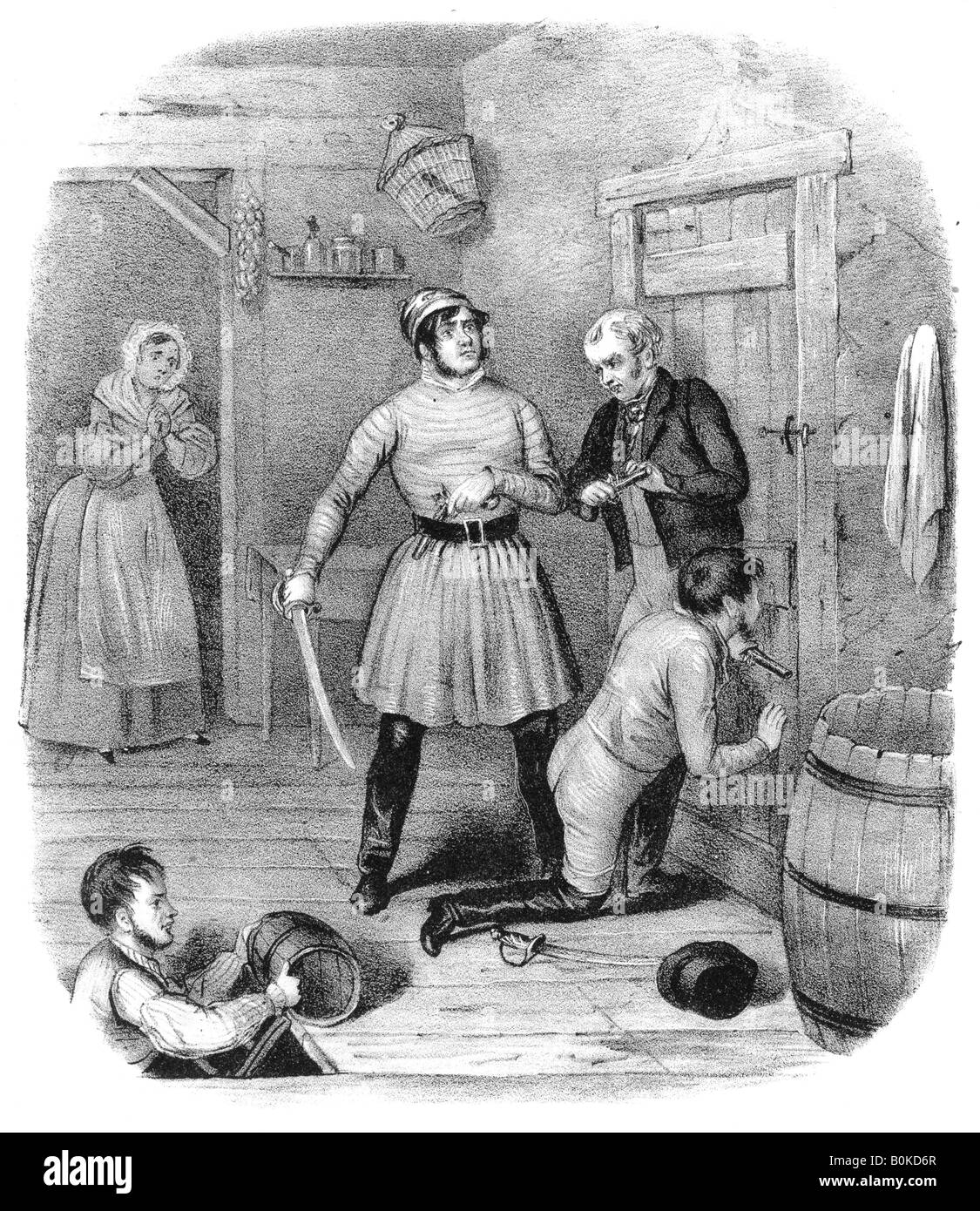 'Smugglers allarmato', del XVIII secolo. Artista: W Clerk Immagini Stock