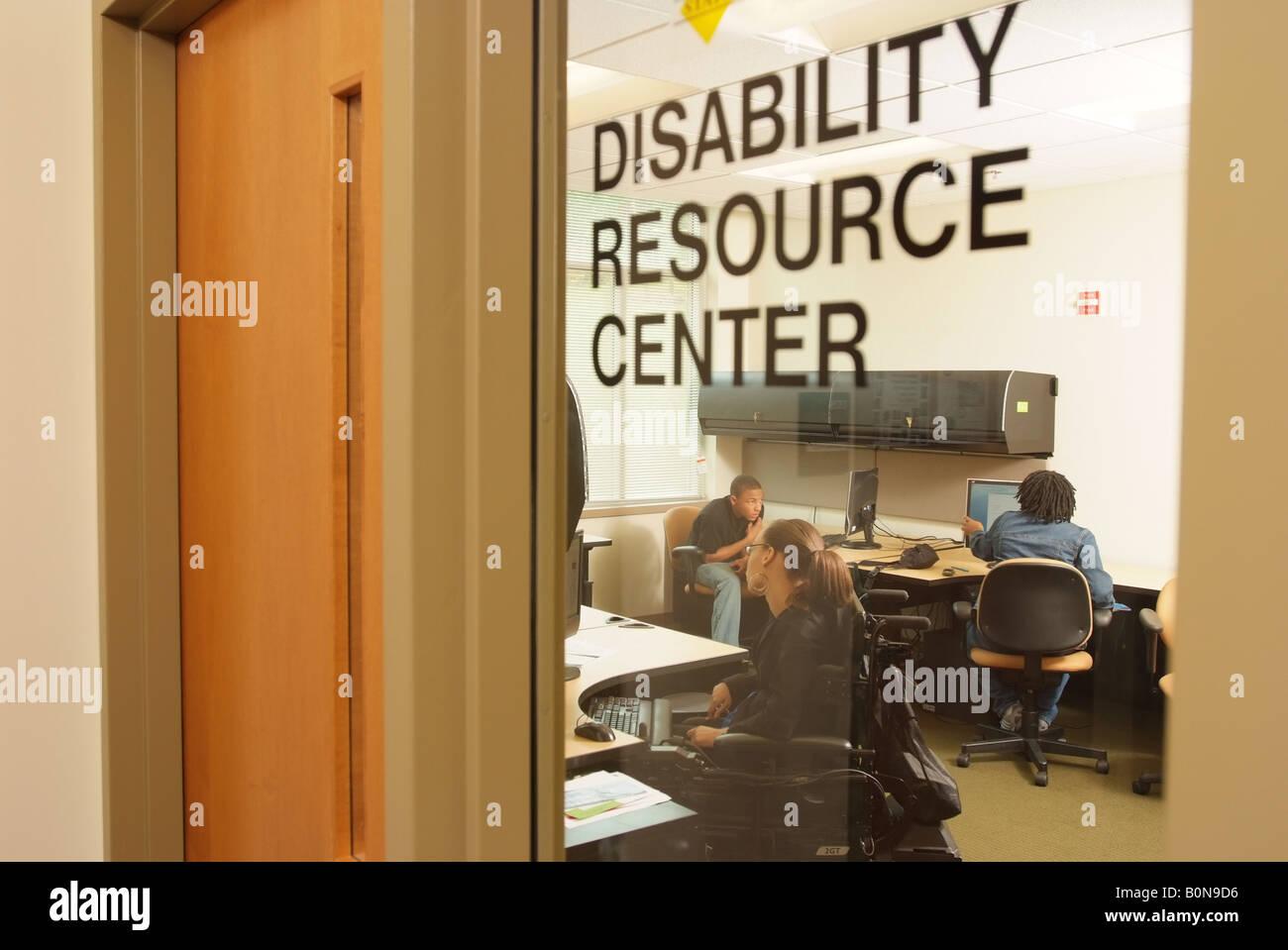 Accesso per disabili Centro risorse a Bowie Università dello Stato del Maryland USA Immagini Stock