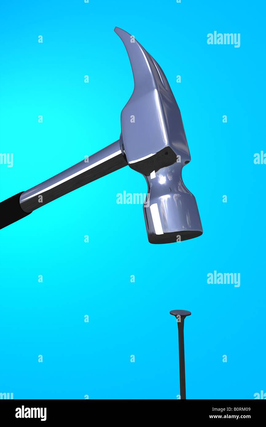 Un martello che colpisce un chiodo su sfondo blu Immagini Stock