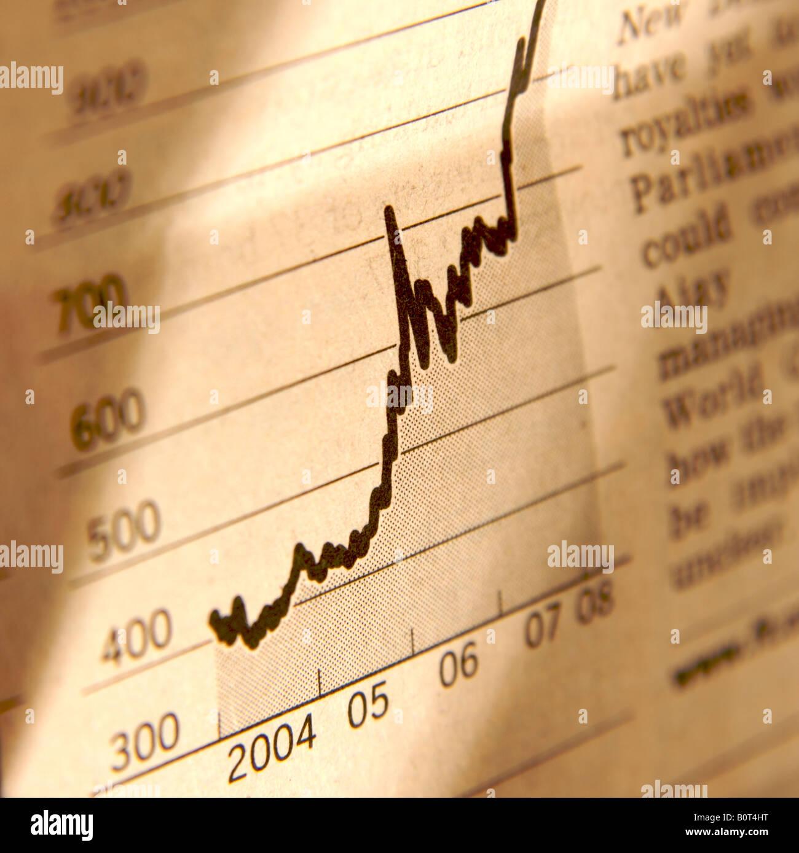 Aumento del valore azionario grafico Immagini Stock