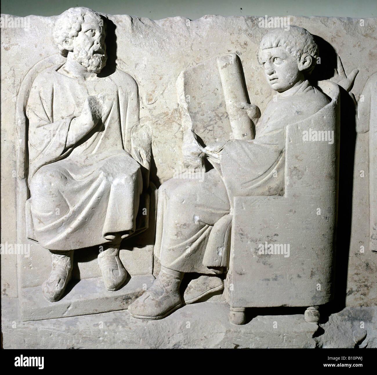 Rilievo romano insegnante con pupilla Romano periodo tedesco Germania Copyright collezione AAA Immagini Stock