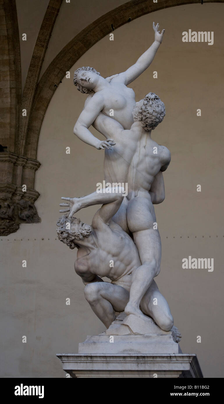 Florenz, Loggia dei Lanzi, Raub der Sabinerinnen von Giovanni da Bologna Immagini Stock
