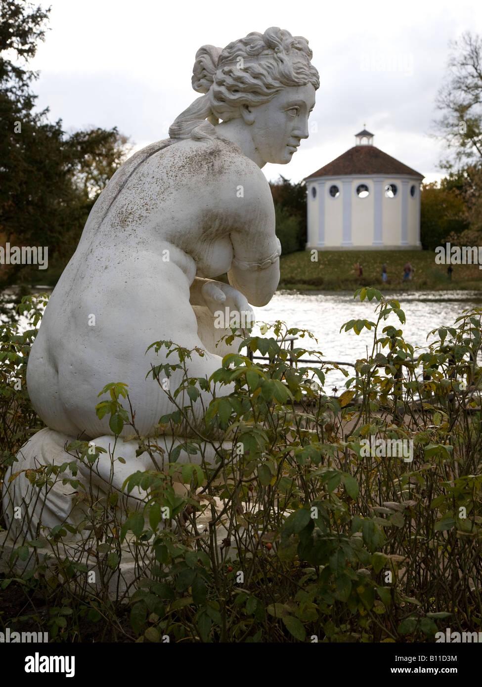 Wörlitz, Landschaftspark, Badende Venus und Vestatempel Immagini Stock