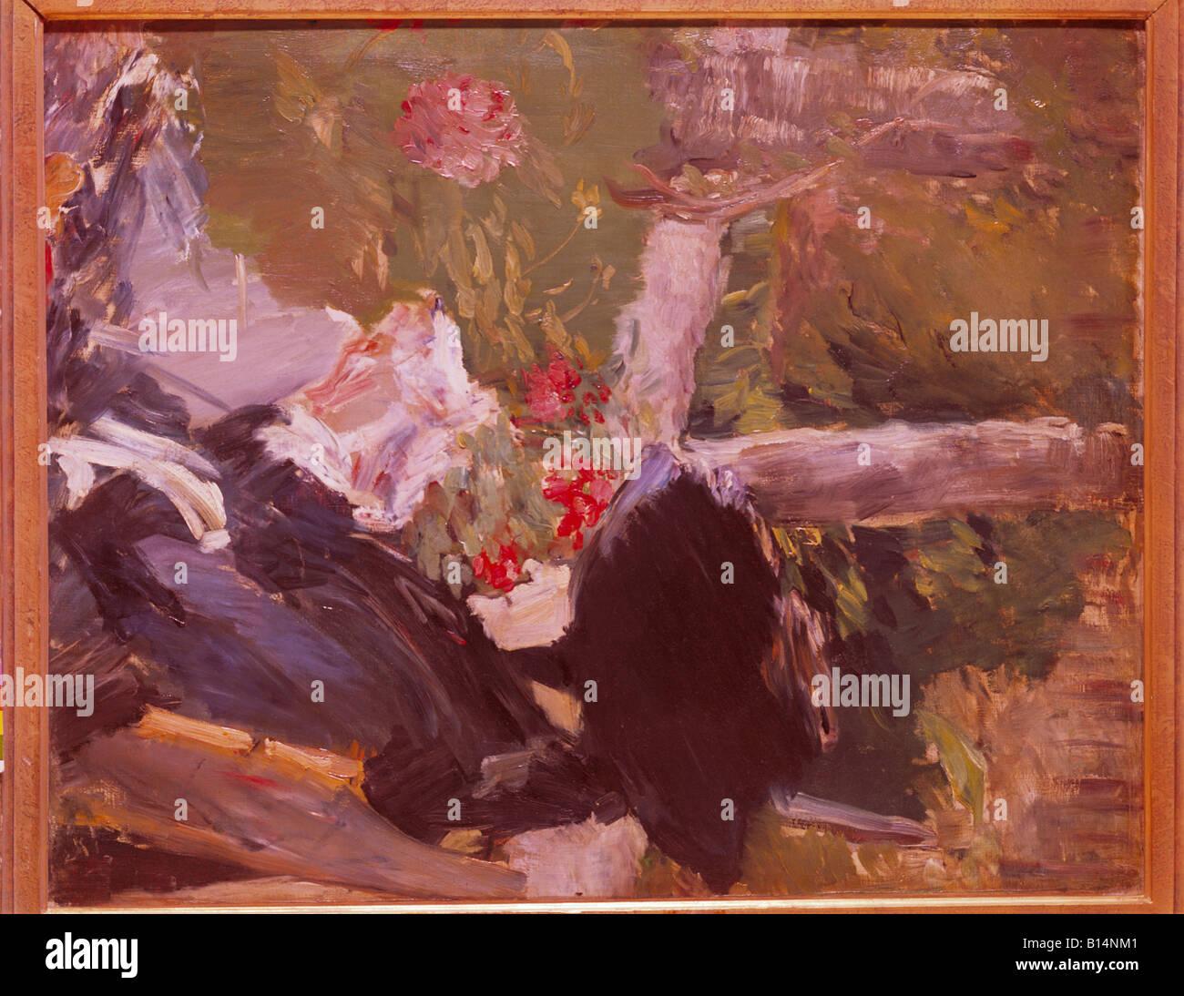 Belle arti, Manet, Edouard, (1832 -1883), pittura, 'La mere de Manet dans le Jardin de Bellevue' ('Manett 's madre Foto Stock