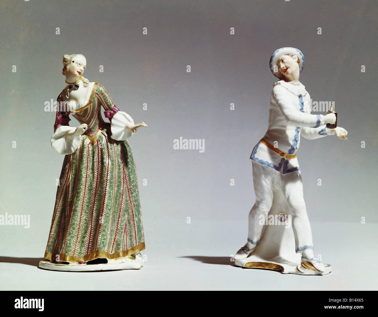 Belle arti, Bustelli Franz Anton (12.4.1723 - 18.4.1763), sculture, 'Isabella e Pierrot', circa 1750, porcellana, Immagini Stock