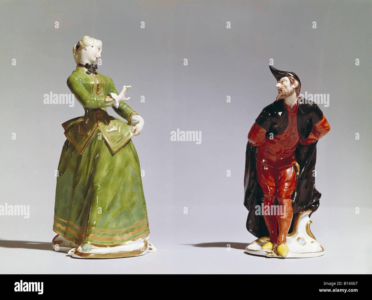 Belle arti, Bustelli Franz Anton, 12.4.1723 - 18.4.1763, sculture, 'Julia e Pantalone', circa 1750, porcellana, Immagini Stock