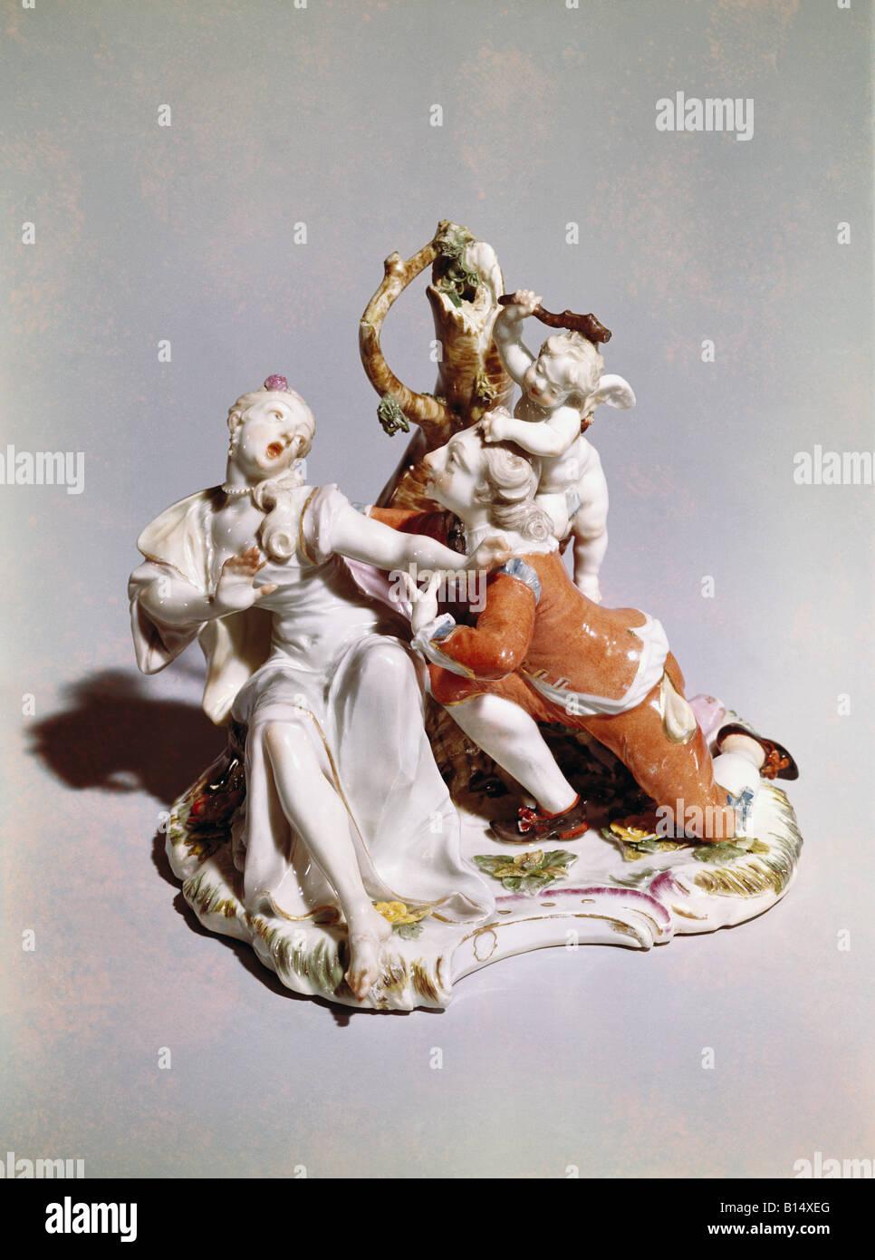 """Belle arti, Bustelli Franz Anton (12.4.1723 - 18.4.1763), scultura, """"l'Amante tempestoso', circa 1756, Immagini Stock"""