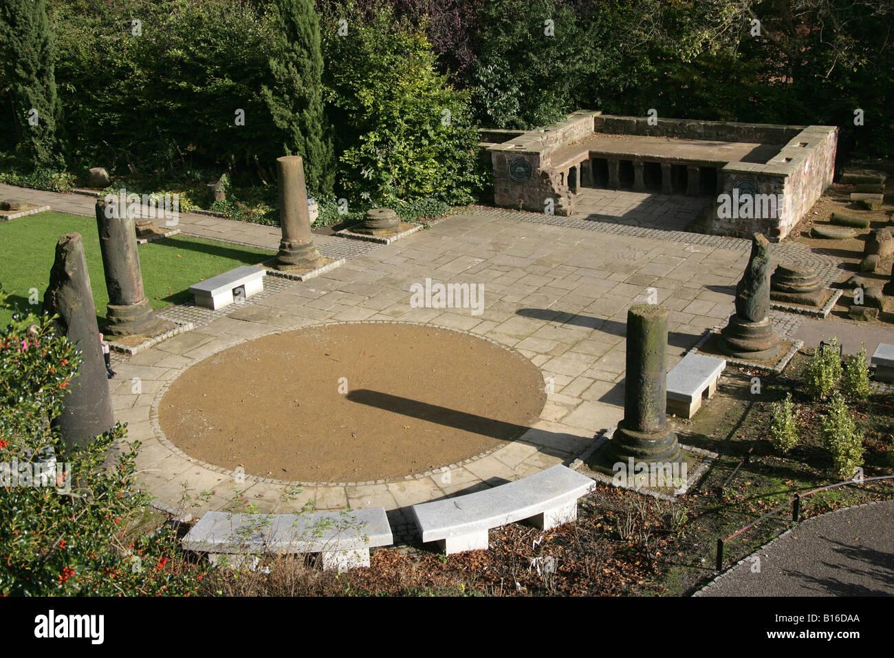Città di chester inghilterra il hypocaust e colonne romane a
