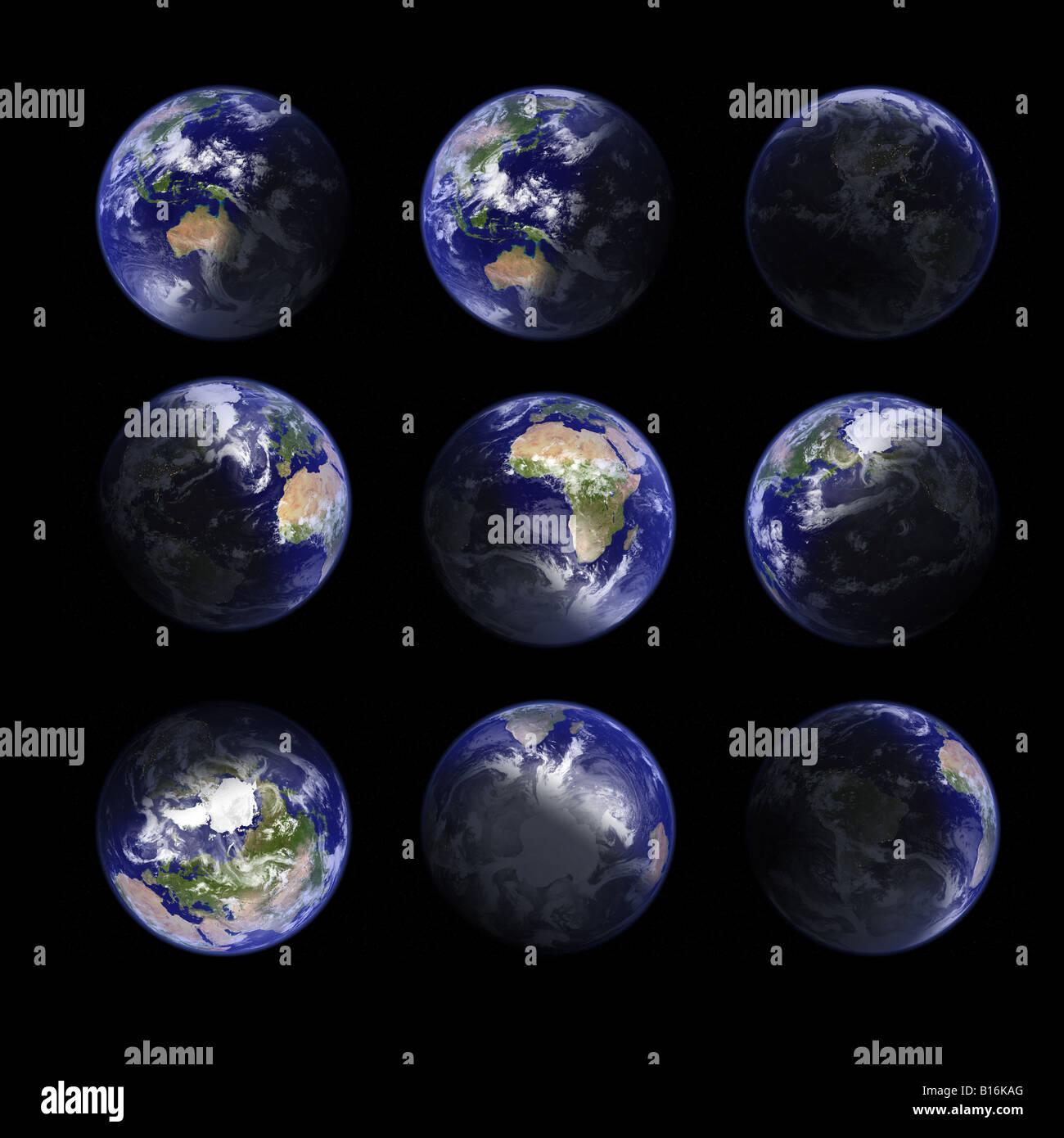 Pianeta Terra, ad altissima risoluzione, topografia reale rendering. In diverse viste e diverse ora del giorno: Immagini Stock