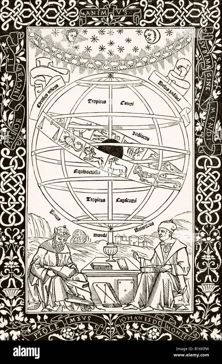 Sistema Ptolemys spiegato da Johannes Müller von Königsberg destra 1436 al 1476 astronomo tedesco astrologo Immagini Stock
