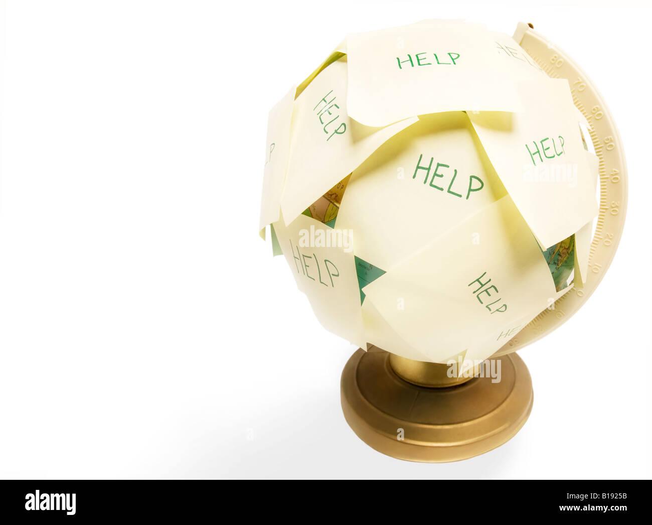 Globo che ha bisogno di aiuto Immagini Stock