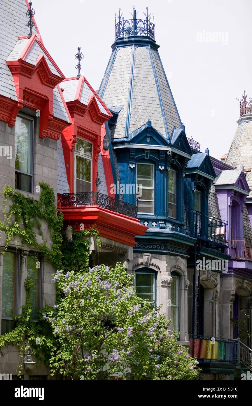 Coloratissima casa vittoriana dettagli intorno a Saint-Louis Park, Montreal, Quebec, Canada Immagini Stock