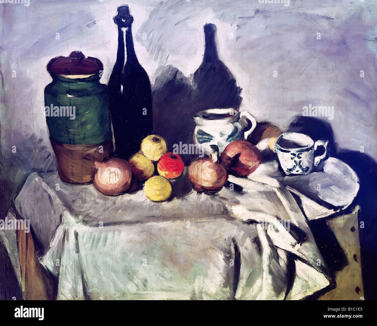 Belle arti, Cezanne, Paul (19.1.1893 - 22.10.1906), pittura, 'Still vita con frutta e piatti', intorno al 1869 - 1871, bottiglia, t Foto Stock