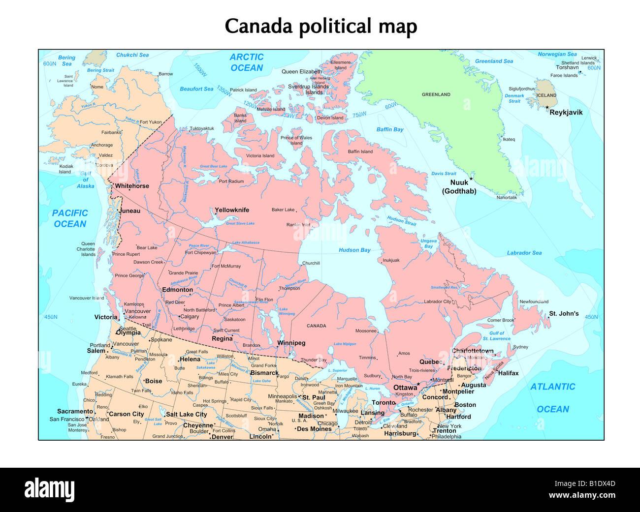 Cartina Canada Politica.Canada Mappa Politico Foto Immagine Stock 18130909 Alamy