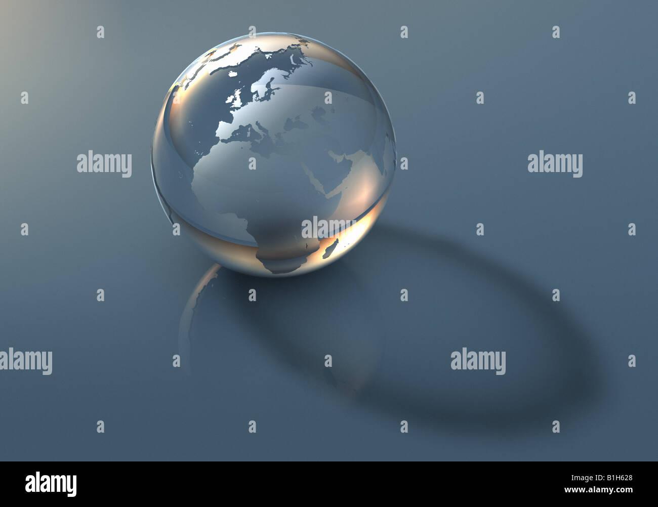 Mappamondo trasparente Immagini Stock