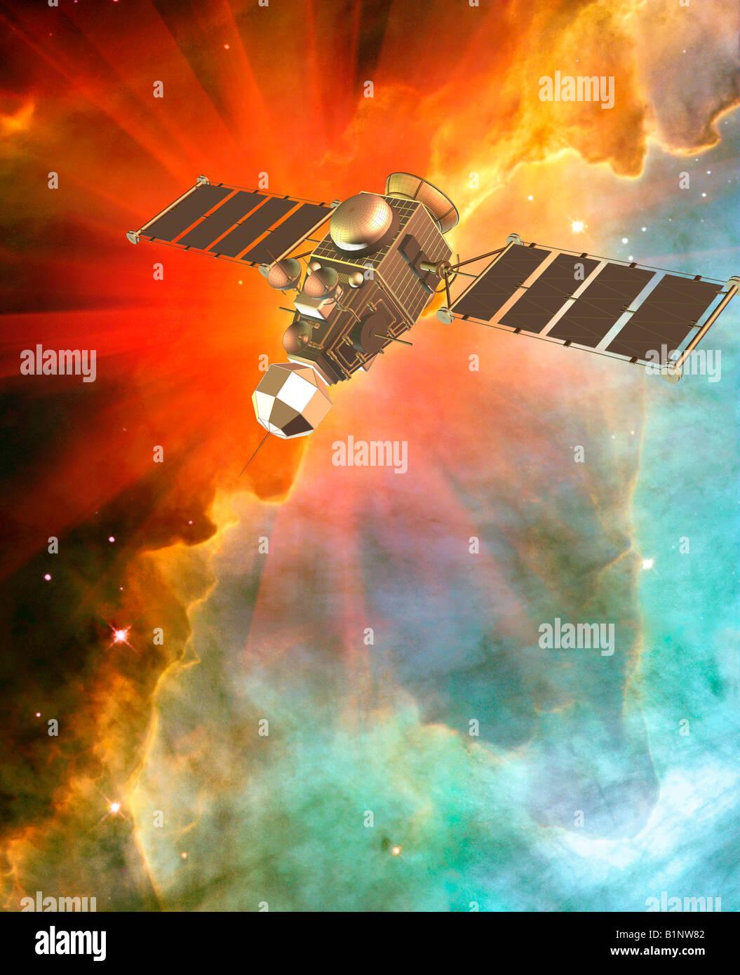 3D generata da computer concetto di veicolo spaziale aggiunto digitalmente per uno sfondo della galassia nello spazio Immagini Stock