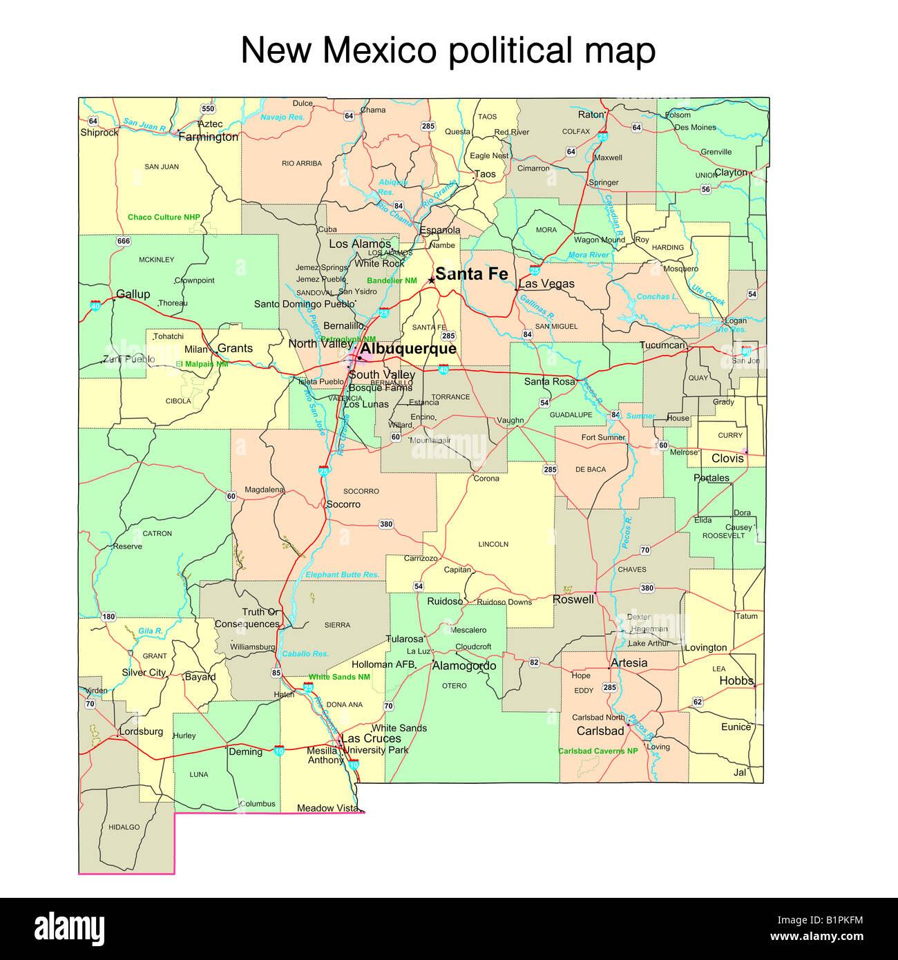 Cartina Geografica Politica Del Messico.Stato Del New Mexico Mappa Politico Foto Stock Alamy
