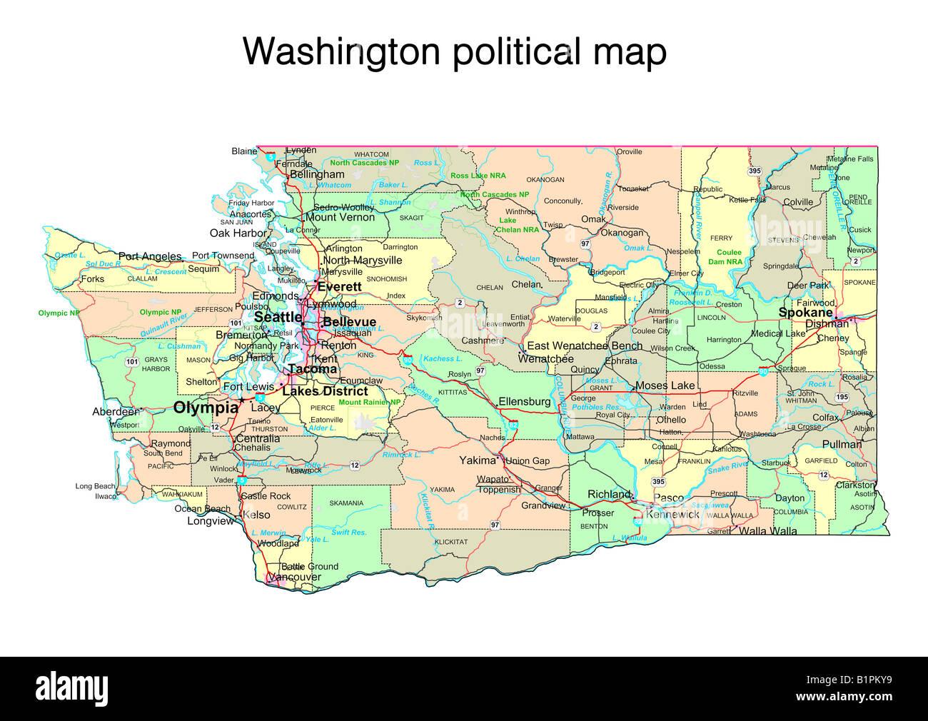 Cartina Washington.Stato Di Washington Mappa Politico Foto Stock Alamy