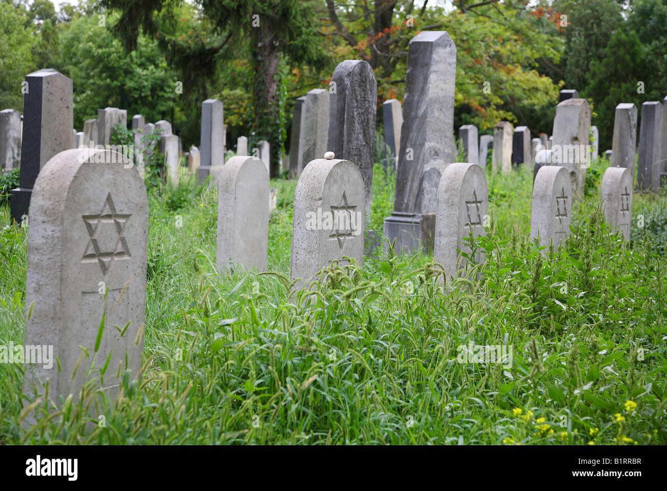 Sezione ebraica del Zentralfriedhof, il cimitero centrale di Vienna in Austria, Europa Immagini Stock