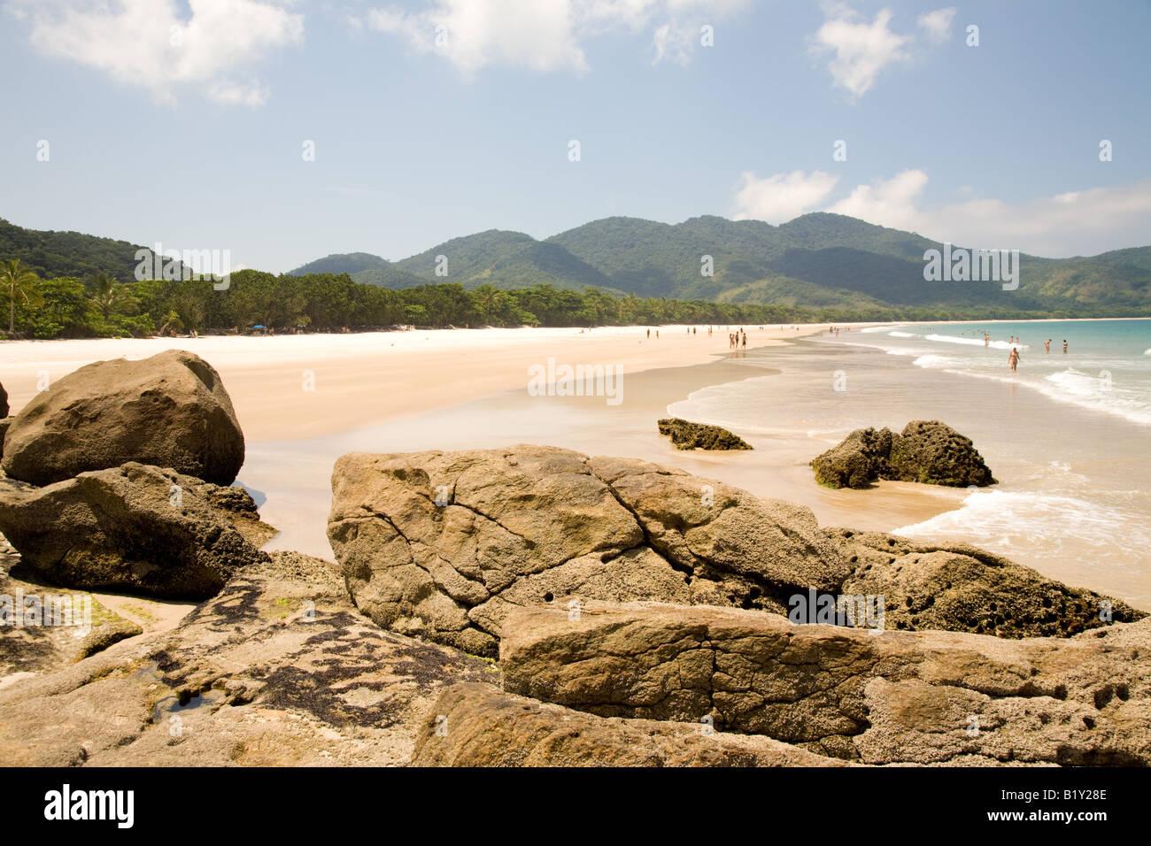 Lopes Mendes Beach, Ilha Grande, Brasile Immagini Stock