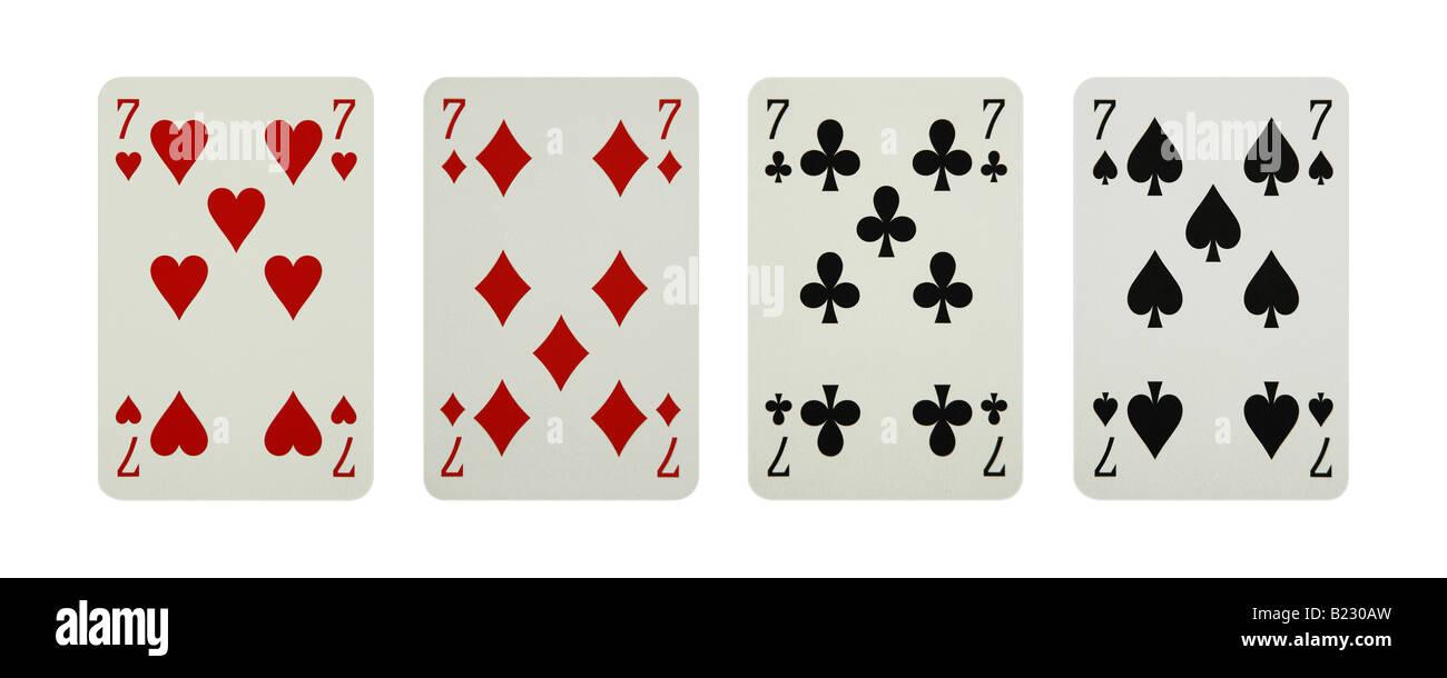 7, sette di cuori diamanti club carte di picche Immagini Stock