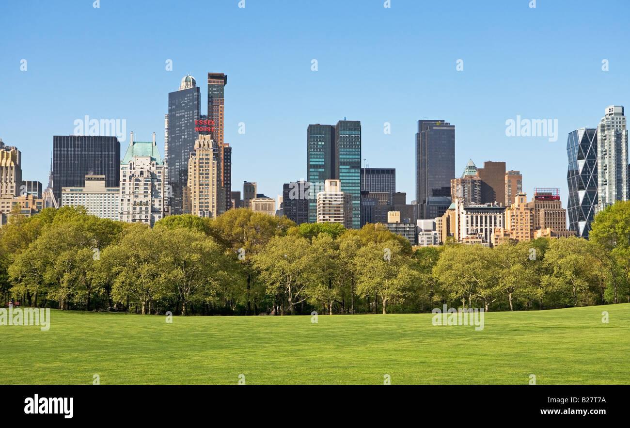 Edifici intorno pecore di Prato, New York, Stati Uniti Immagini Stock