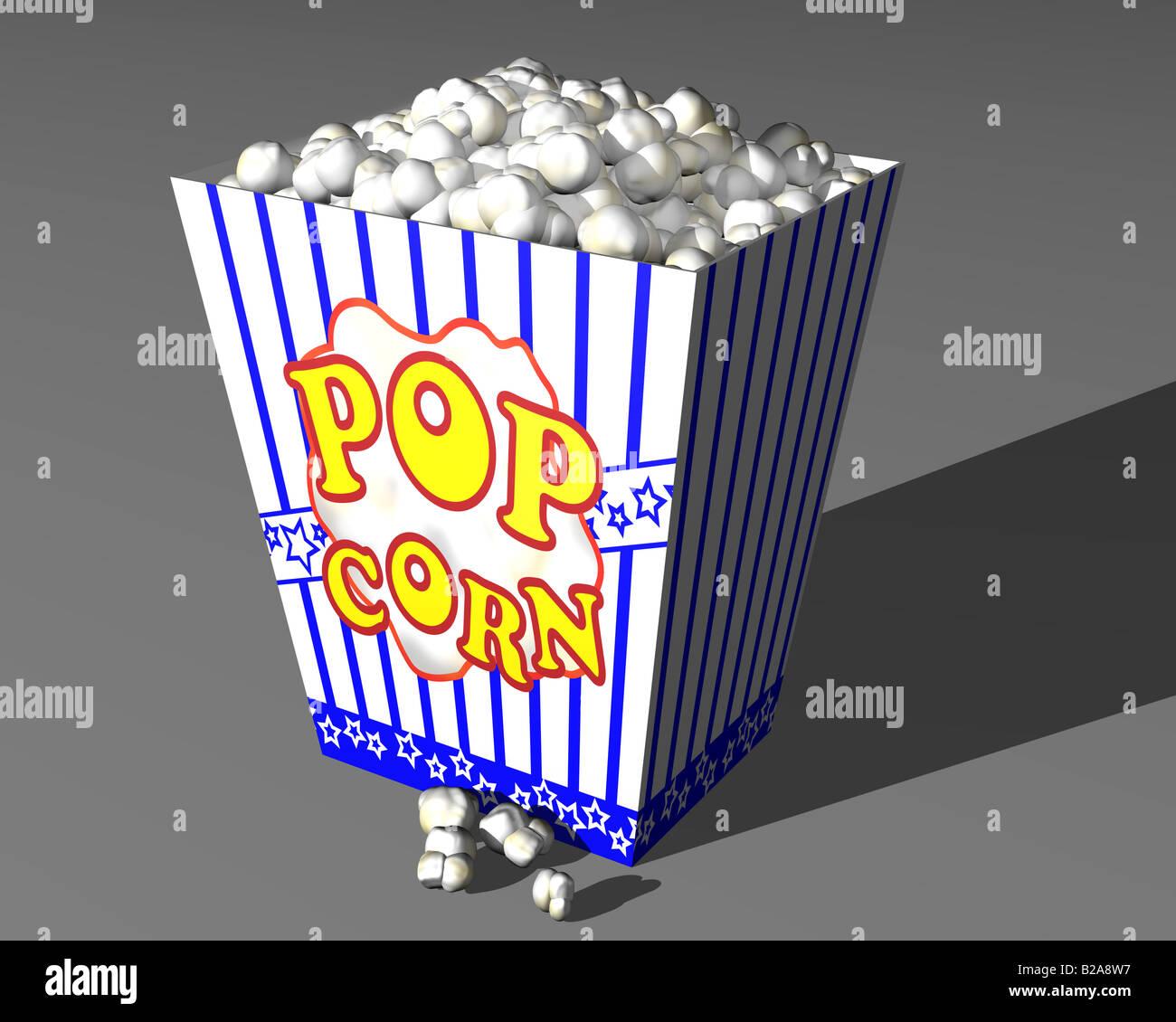 Illustrazione di una grande scatola di popcorn cinema Immagini Stock