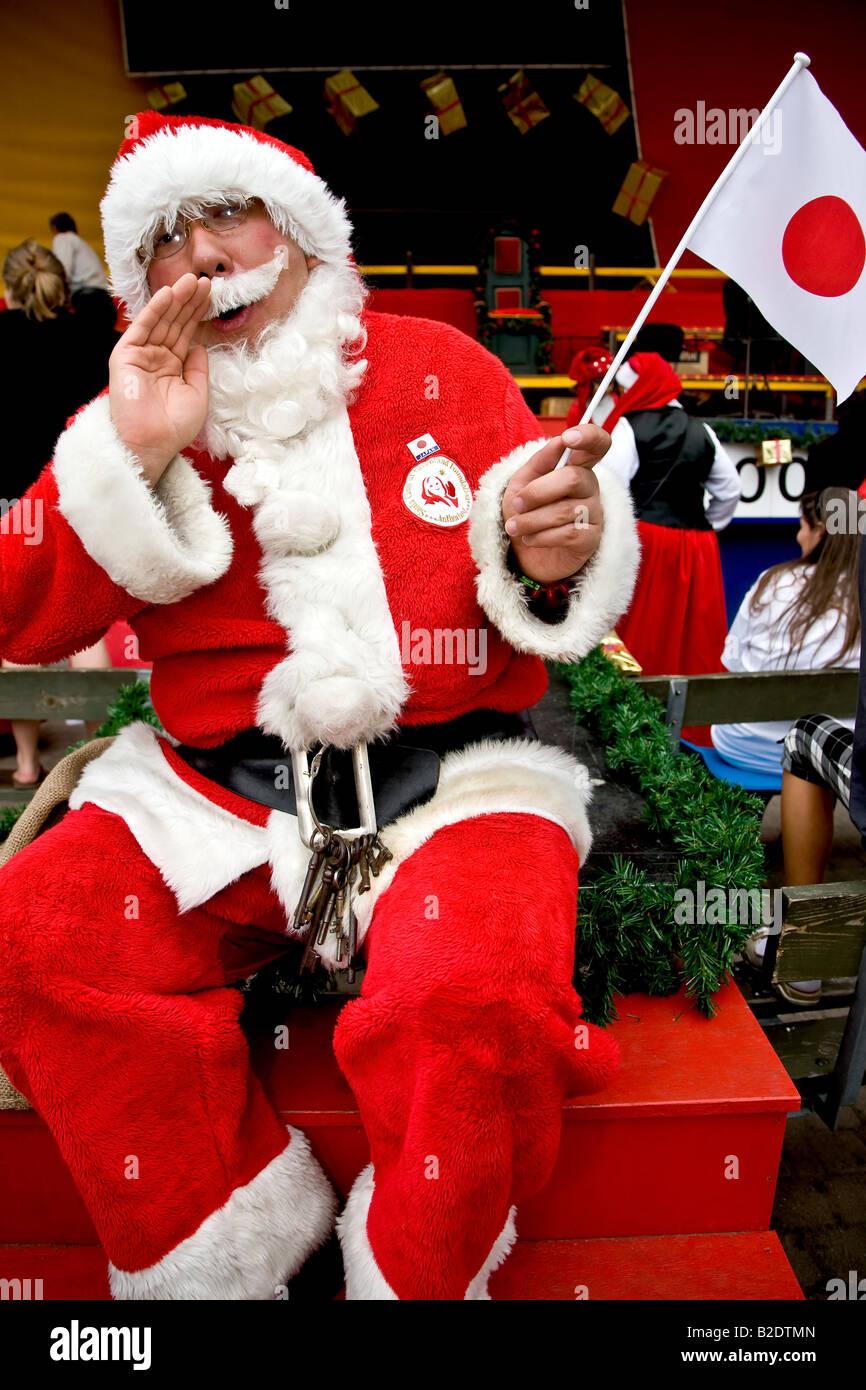 Babbo Natale Ho Ho Ho.Il Giapponese Santa Claus Gridando Ho Ho Ho Presso Il Mondo Di Babbo