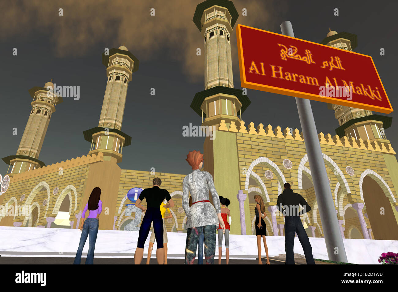 Seconda Vita: un computer afferrare dal mondo virtuale Second Life, la vista sul Cortile della moschea principale Immagini Stock