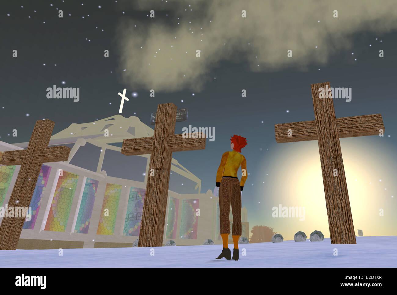 Seconda Vita: un computer grab di una chiesa del mondo virtuale di Second Life Immagini Stock