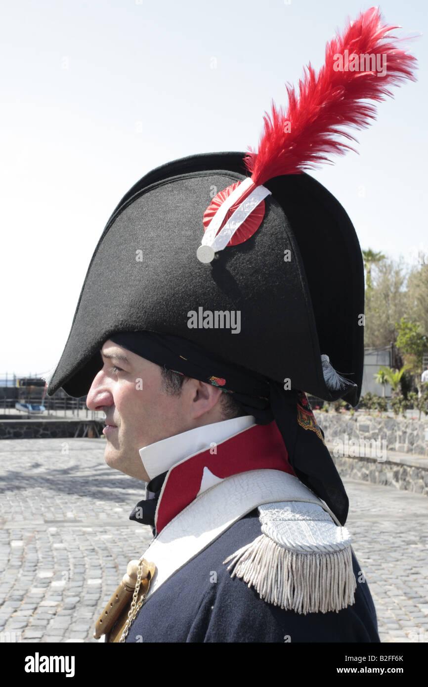 Un membro delle forze spagnole durante una rievocazione storica del 1797 Battaglia di Santa Cruz Tenerife Foto Stock