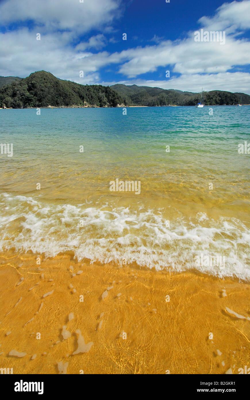 Anchorage Torrent Bay spiaggia da sogno Abel Tasman np ocean nuova zelanda parco nazionale di Nelson regione vacanza Immagini Stock