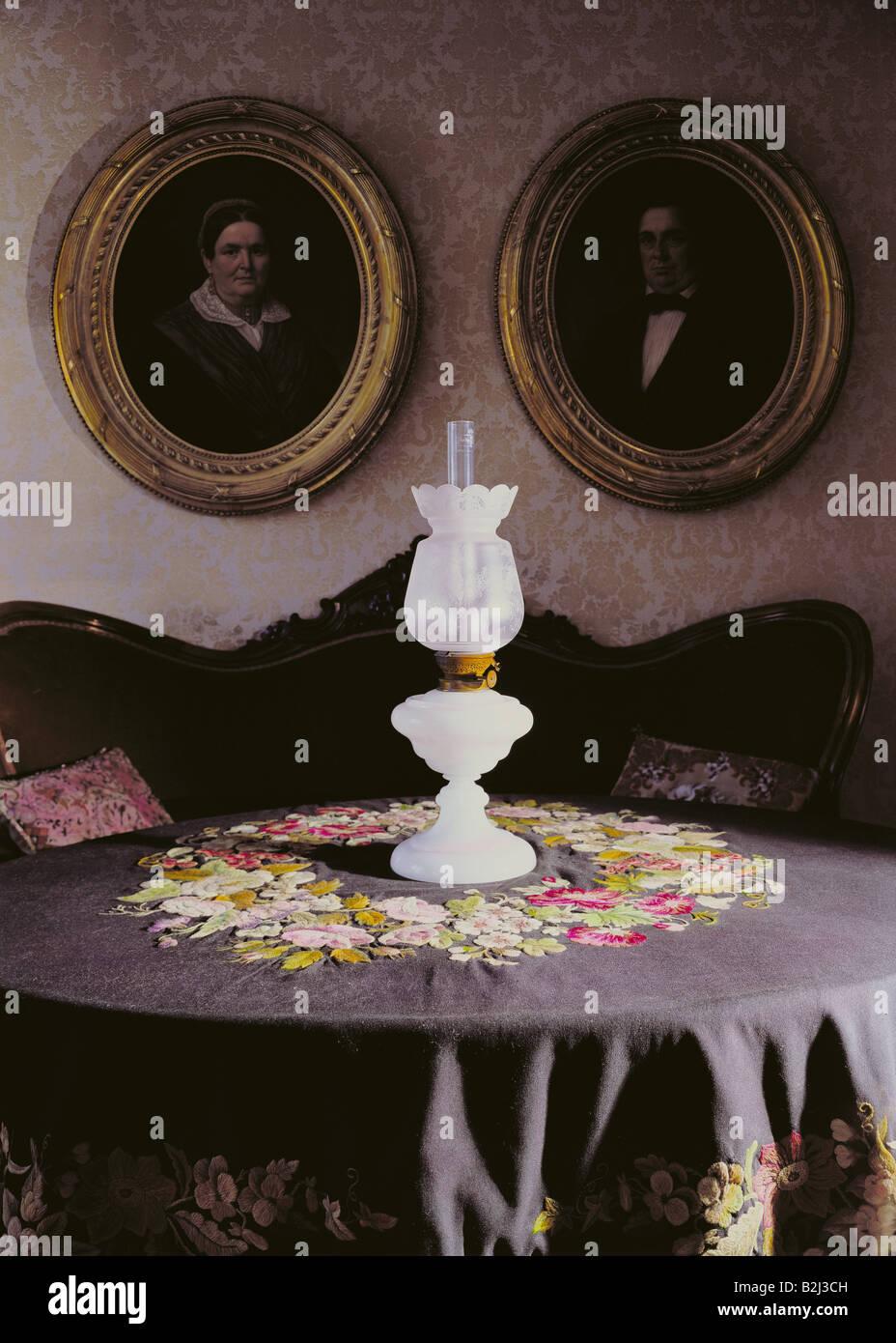 Abitazione, lampade, lampada di paraffina, latte vetro, circa 1850/1860, Additional-Rights-giochi-NA Immagini Stock