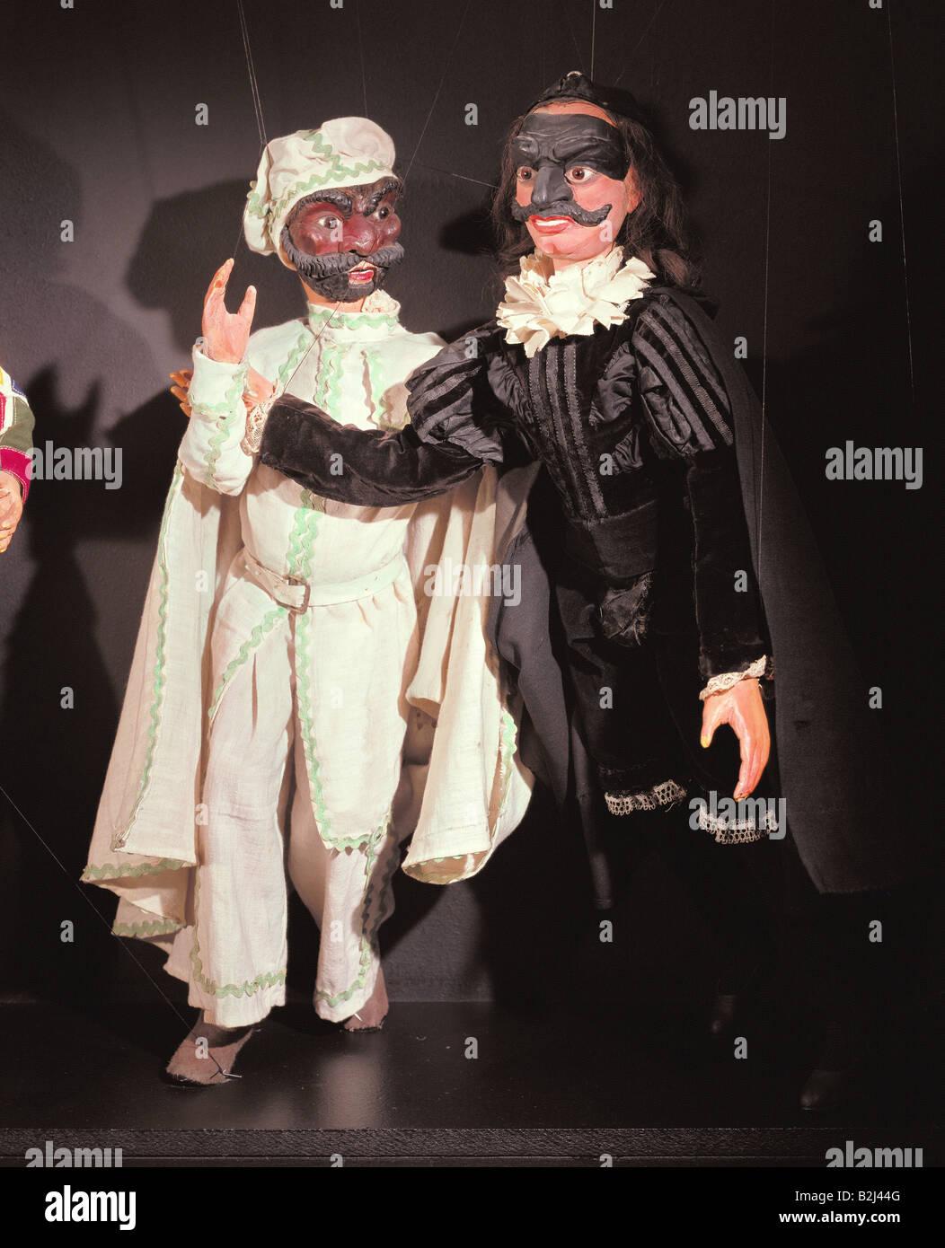 Teatro, teatro di burattini, marionette, le figure della Commedia dell'arte di Luigi Lupi, Torino, secolo XIX, Immagini Stock